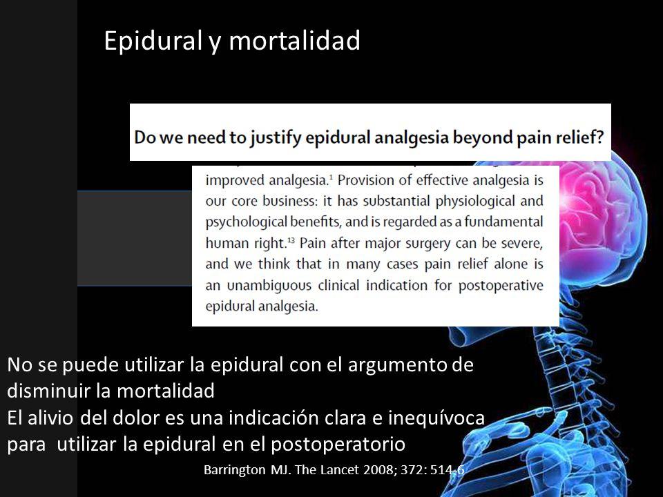 Epidural y mortalidad No se puede utilizar la epidural con el argumento de disminuir la mortalidad El alivio del dolor es una indicación clara e inequívoca para utilizar la epidural en el postoperatorio Barrington MJ.