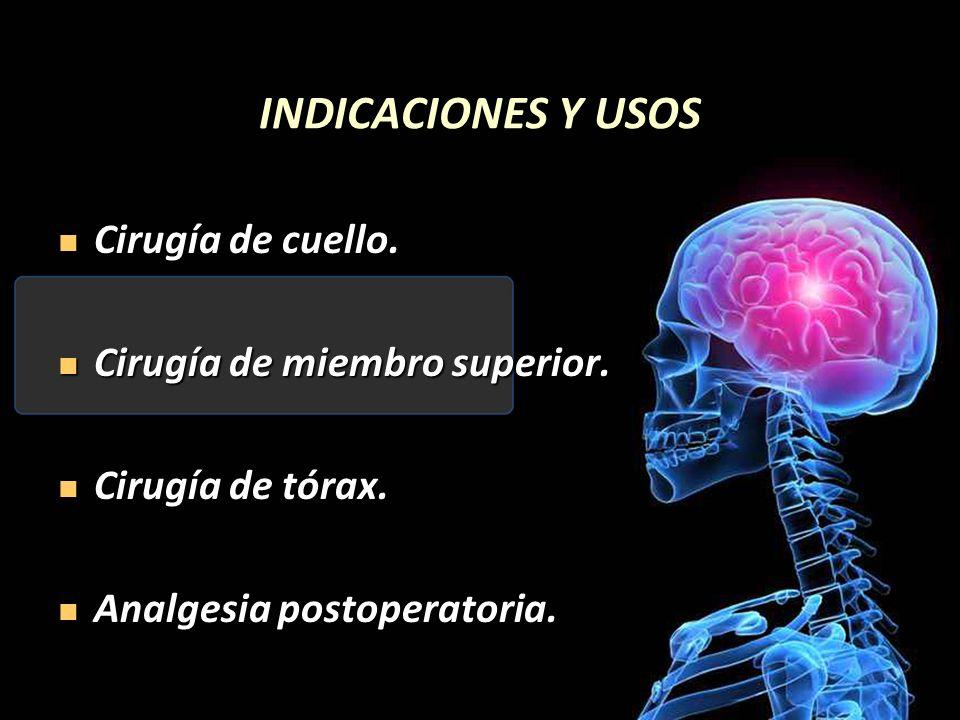 INDICACIONES Y USOS Cirugía de cuello. Cirugía de cuello. Cirugía de miembro superior. Cirugía de miembro superior. Cirugía de tórax. Cirugía de tórax