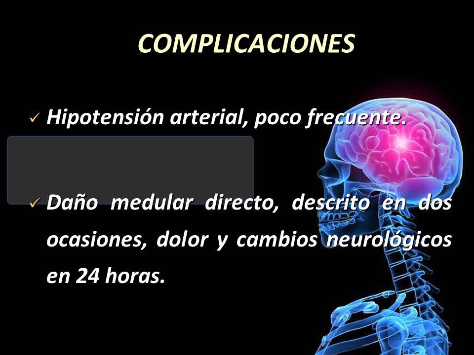 COMPLICACIONES Hipotensión arterial, poco frecuente. Hipotensión arterial, poco frecuente. Daño medular directo, descrito en dos ocasiones, dolor y ca