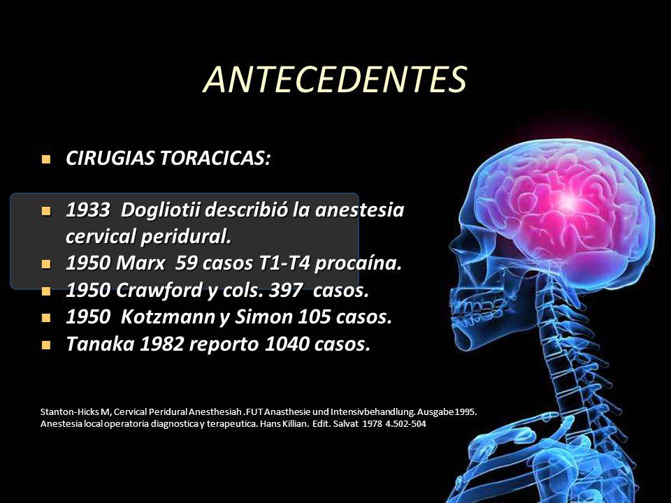 ANTECEDENTES CIRUGIAS TORACICAS: CIRUGIAS TORACICAS: 1933 Dogliotii describió la anestesia 1933 Dogliotii describió la anestesia cervical peridural. c