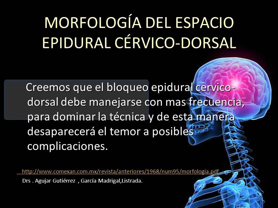MORFOLOGÍA DEL ESPACIO EPIDURAL CÉRVICO-DORSAL Creemos que el bloqueo epidural cervico- dorsal debe manejarse con mas frecuencia, para dominar la técnica y de esta manera desaparecerá el temor a posibles complicaciones.