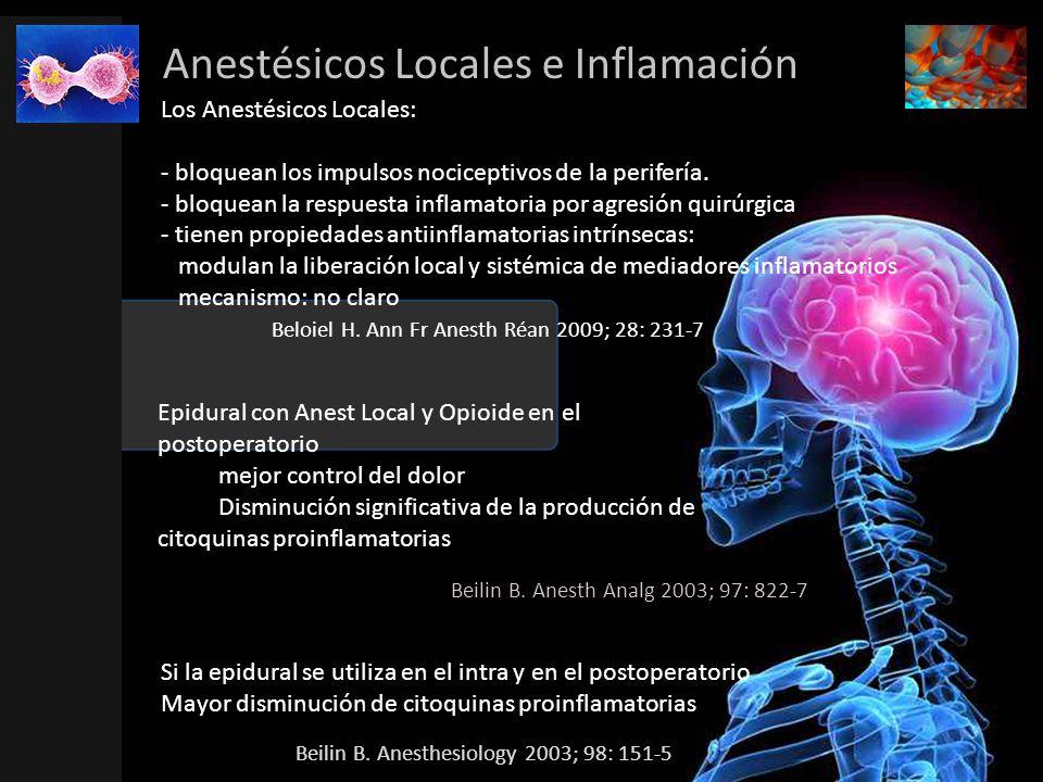 Anestésicos Locales e Inflamación Los Anestésicos Locales: - bloquean los impulsos nociceptivos de la perifería. - bloquean la respuesta inflamatoria
