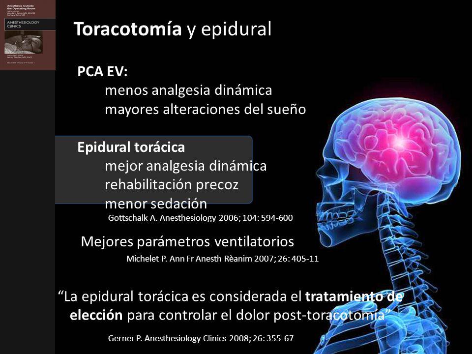PCA EV: menos analgesia dinámica mayores alteraciones del sueño Epidural torácica mejor analgesia dinámica rehabilitación precoz menor sedación Mejores parámetros ventilatorios Gottschalk A.