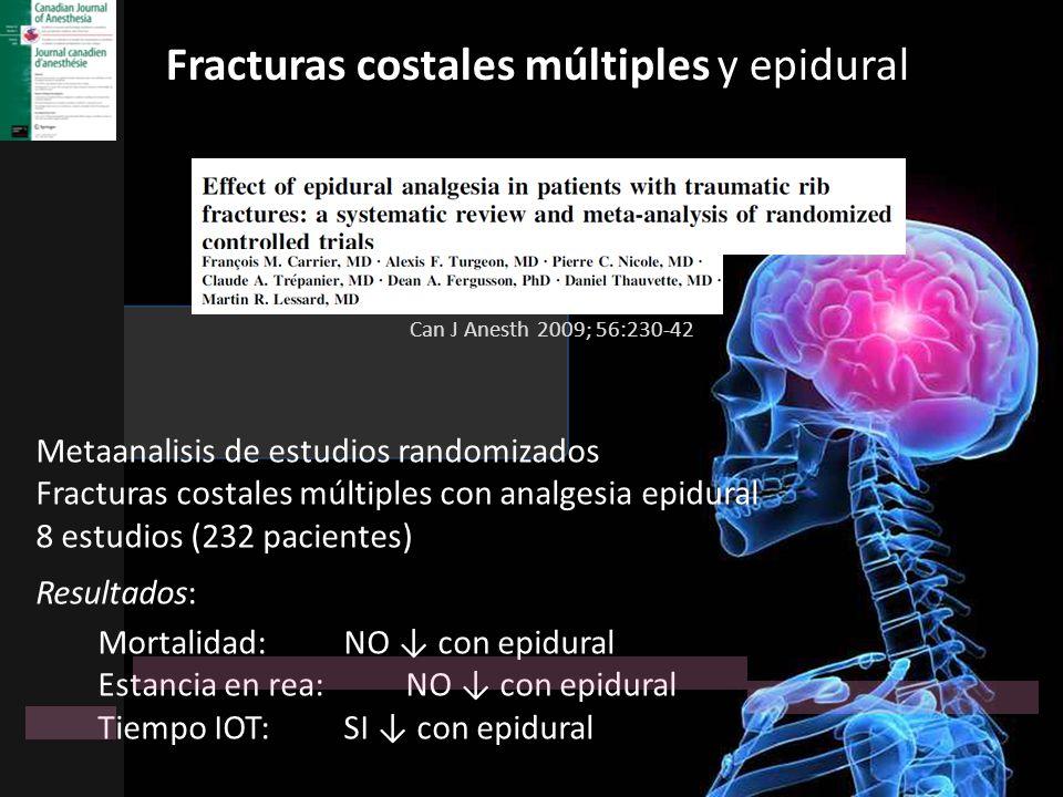 Fracturas costales múltiples y epidural Metaanalisis de estudios randomizados Fracturas costales múltiples con analgesia epidural 8 estudios (232 paci