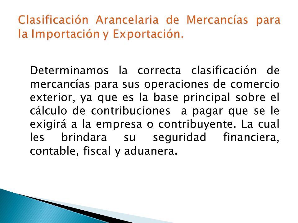 Determinamos la correcta clasificación de mercancías para sus operaciones de comercio exterior, ya que es la base principal sobre el cálculo de contribuciones a pagar que se le exigirá a la empresa o contribuyente.