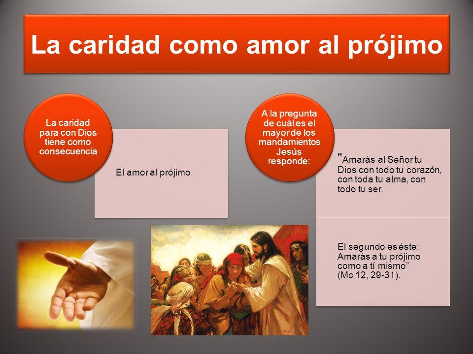 La caridad como amor al prójimo El amor al prójimo. La caridad para con Dios tiene como consecuencia