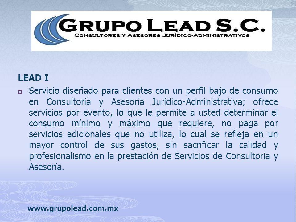 Servicio diseñado para clientes con un perfil bajo de consumo en Consultoría y Asesoría Jurídico-Administrativa; ofrece servicios por evento, lo que l