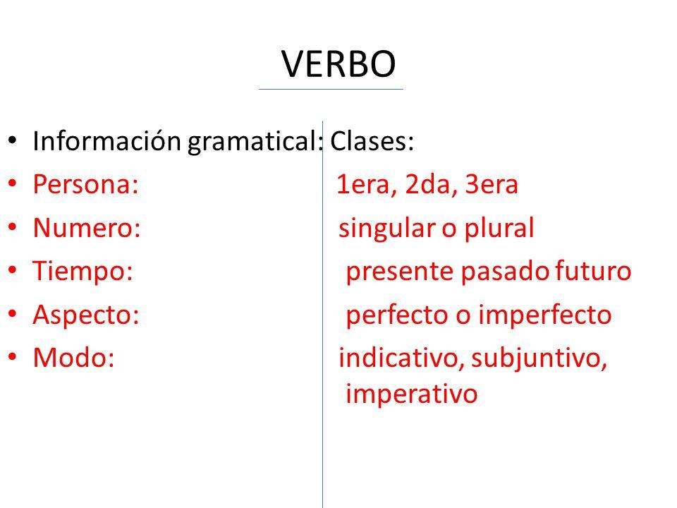 VERBO Información gramatical: Clases: Persona: 1era, 2da, 3era Numero: singular o plural Tiempo:presente pasado futuro Aspecto:perfecto o imperfecto M