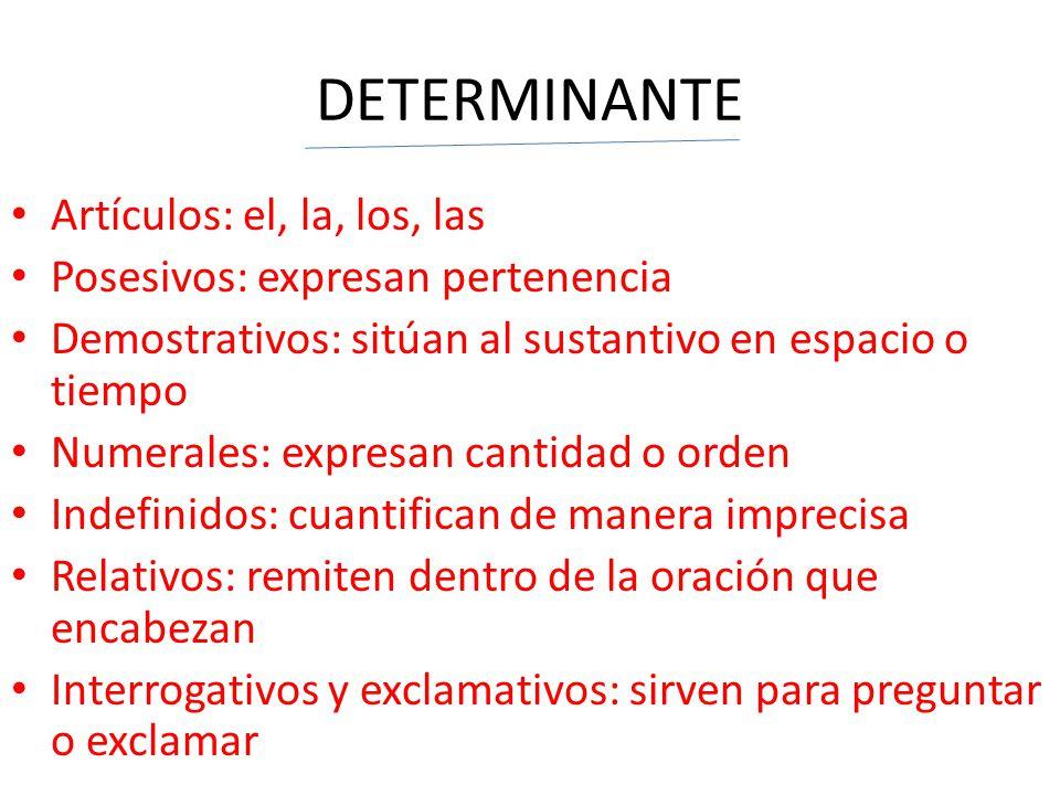 DETERMINANTE Artículos: el, la, los, las Posesivos: expresan pertenencia Demostrativos: sitúan al sustantivo en espacio o tiempo Numerales: expresan c