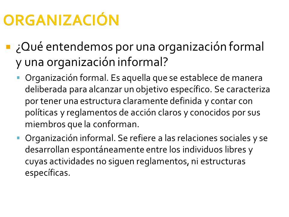 ORGANIZACIÓN ¿Qué entendemos por una organización formal y una organización informal? Organización formal. Es aquella que se establece de manera delib