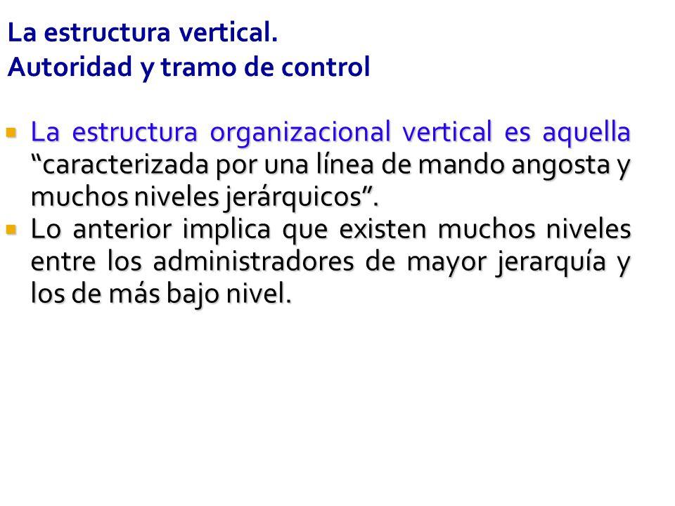 La estructura vertical. Autoridad y tramo de control La estructura organizacional vertical es aquella caracterizada por una línea de mando angosta y m