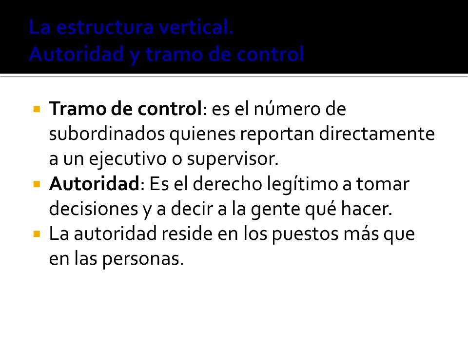 Tramo de control: es el número de subordinados quienes reportan directamente a un ejecutivo o supervisor. Autoridad: Es el derecho legítimo a tomar de