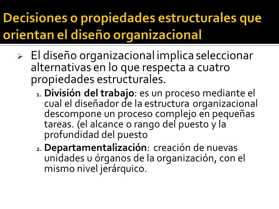 El diseño organizacional implica seleccionar alternativas en lo que respecta a cuatro propiedades estructurales. 1. División del trabajo: es un proces