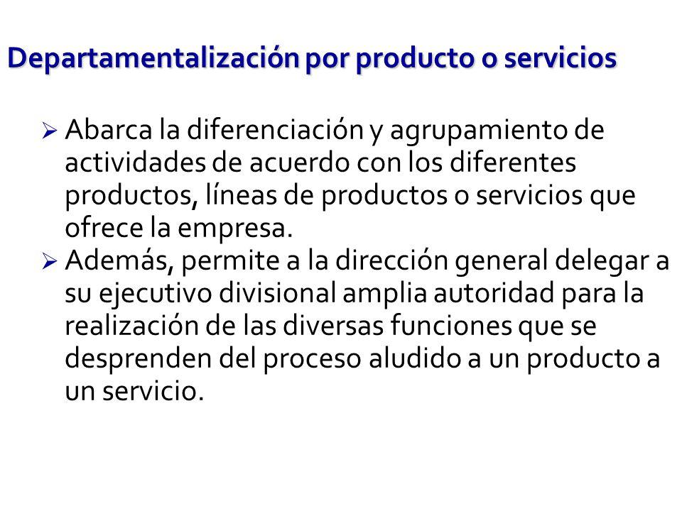 Abarca la diferenciación y agrupamiento de actividades de acuerdo con los diferentes productos, líneas de productos o servicios que ofrece la empresa.