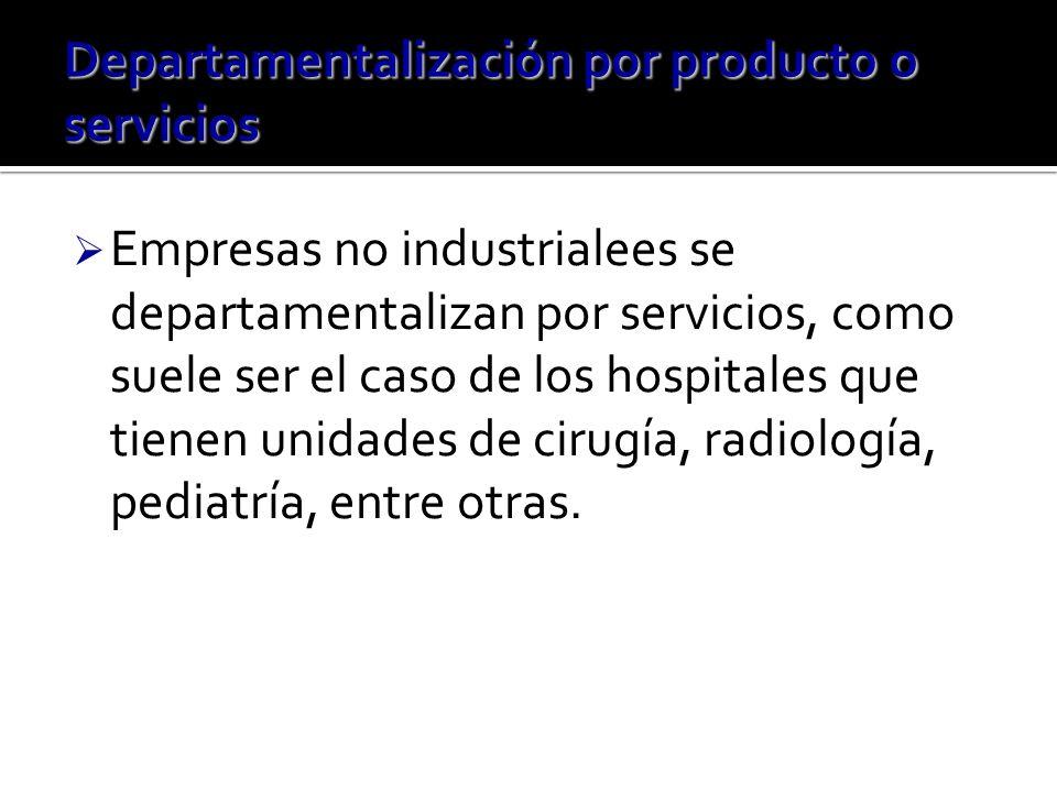 Empresas no industrialees se departamentalizan por servicios, como suele ser el caso de los hospitales que tienen unidades de cirugía, radiología, pediatría, entre otras.