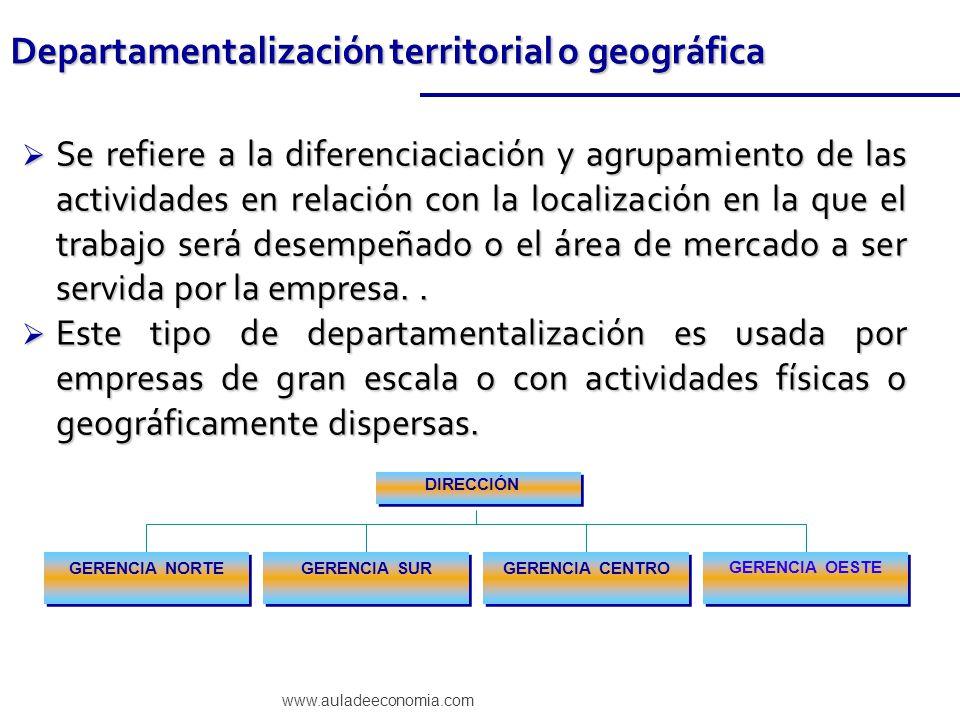 www.auladeeconomia.com Se refiere a la diferenciaciación y agrupamiento de las actividades en relación con la localización en la que el trabajo será d