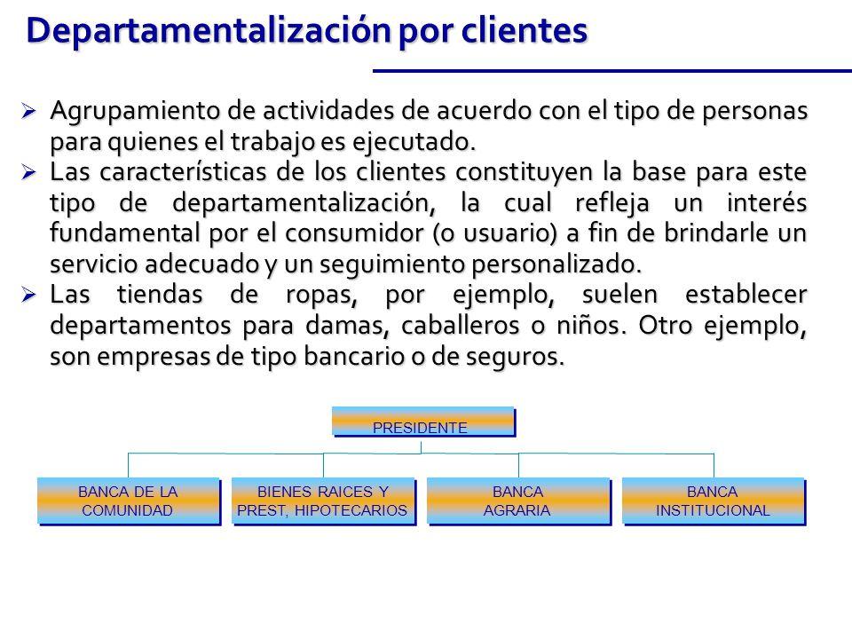 Agrupamiento de actividades de acuerdo con el tipo de personas para quienes el trabajo es ejecutado.