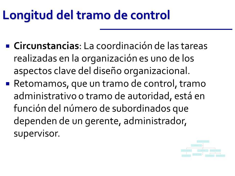 Circunstancias: La coordinación de las tareas realizadas en la organización es uno de los aspectos clave del diseño organizacional. Retomamos, que un
