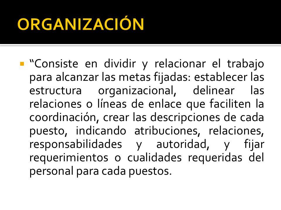 Consiste en dividir y relacionar el trabajo para alcanzar las metas fijadas: establecer las estructura organizacional, delinear las relaciones o línea
