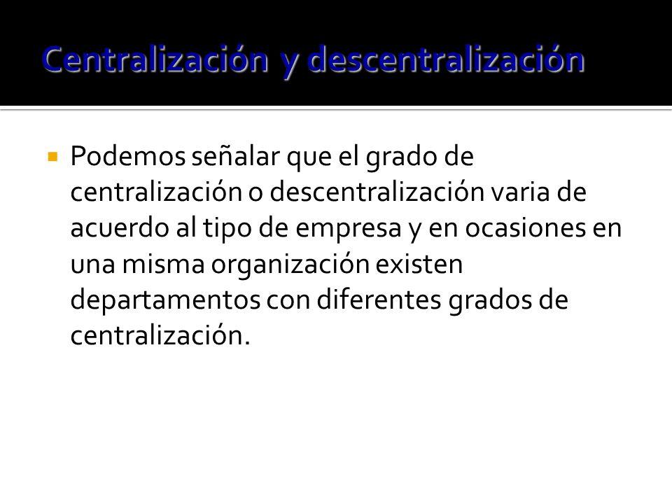 Podemos señalar que el grado de centralización o descentralización varia de acuerdo al tipo de empresa y en ocasiones en una misma organización existen departamentos con diferentes grados de centralización.