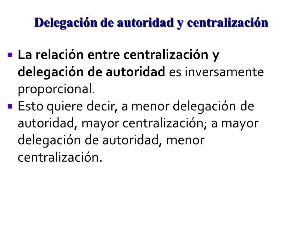 La relación entre centralización y delegación de autoridad es inversamente proporcional. Esto quiere decir, a menor delegación de autoridad, mayor cen