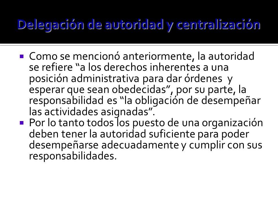 Como se mencionó anteriormente, la autoridad se refiere a los derechos inherentes a una posición administrativa para dar órdenes y esperar que sean ob