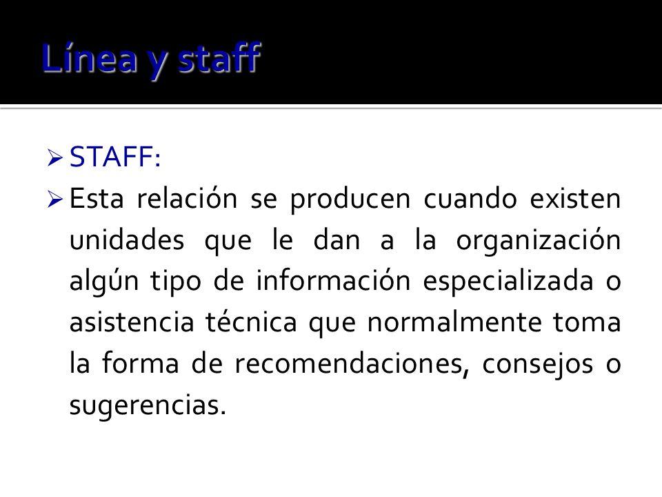 STAFF: Esta relación se producen cuando existen unidades que le dan a la organización algún tipo de información especializada o asistencia técnica que normalmente toma la forma de recomendaciones, consejos o sugerencias.