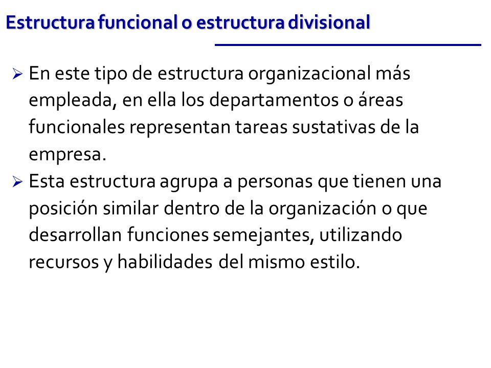 En este tipo de estructura organizacional más empleada, en ella los departamentos o áreas funcionales representan tareas sustativas de la empresa. Est
