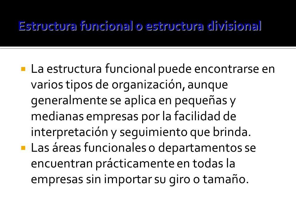 La estructura funcional puede encontrarse en varios tipos de organización, aunque generalmente se aplica en pequeñas y medianas empresas por la facilidad de interpretación y seguimiento que brinda.