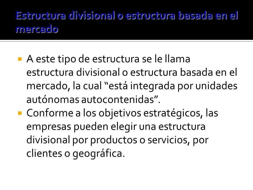 A este tipo de estructura se le llama estructura divisional o estructura basada en el mercado, la cual está integrada por unidades autónomas autocontenidas.