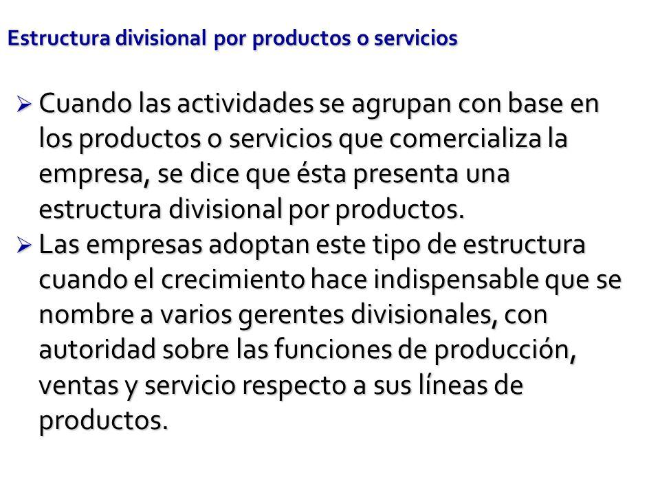 Estructura divisional por productos o servicios Cuando las actividades se agrupan con base en los productos o servicios que comercializa la empresa, s