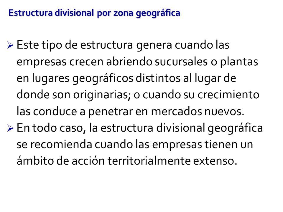 Estructura divisional por zona geográfica Este tipo de estructura genera cuando las empresas crecen abriendo sucursales o plantas en lugares geográfic