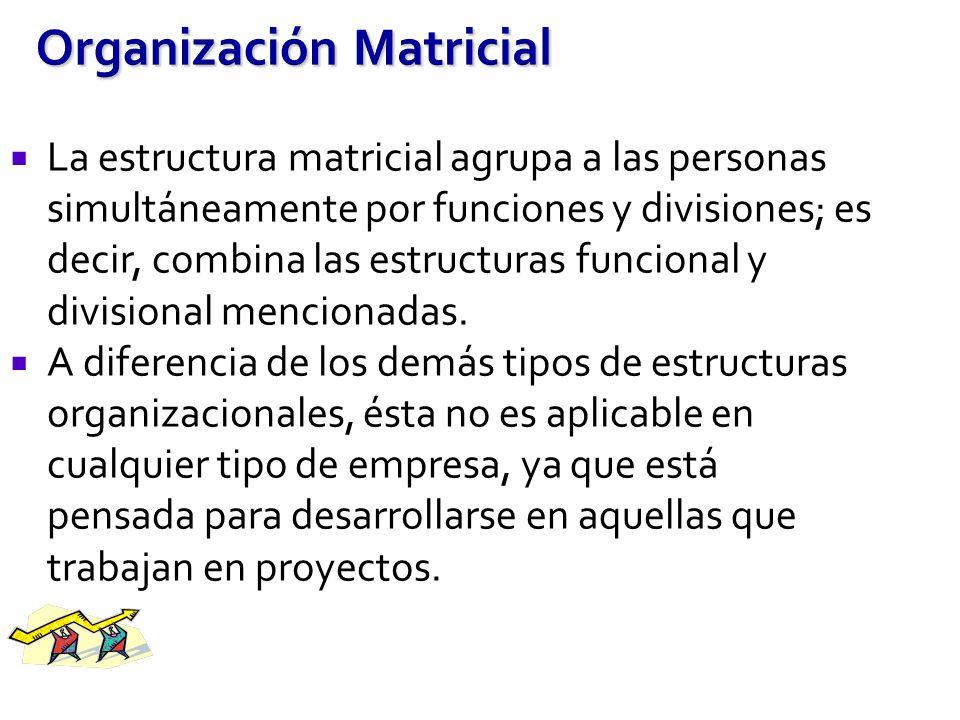 Organización Matricial La estructura matricial agrupa a las personas simultáneamente por funciones y divisiones; es decir, combina las estructuras fun
