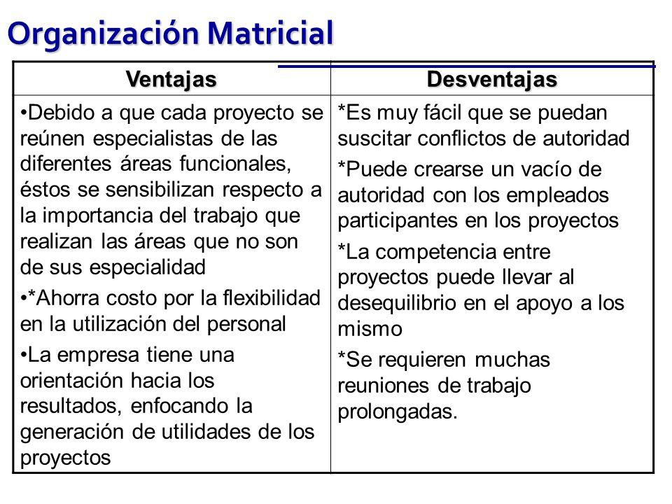 Organización Matricial VentajasDesventajas Debido a que cada proyecto se reúnen especialistas de las diferentes áreas funcionales, éstos se sensibiliz