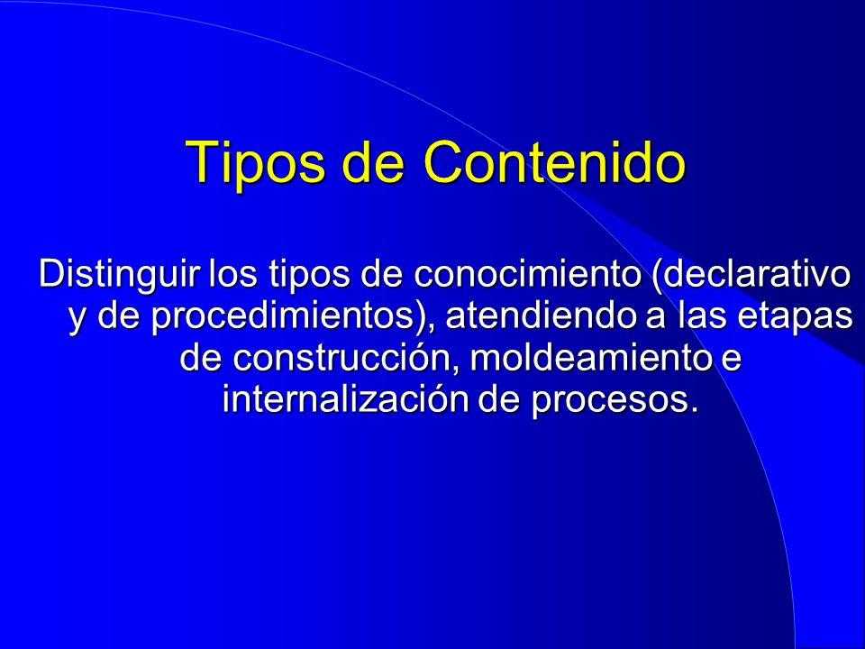 Tipos de Contenido Distinguir los tipos de conocimiento (declarativo y de procedimientos), atendiendo a las etapas de construcción, moldeamiento e int