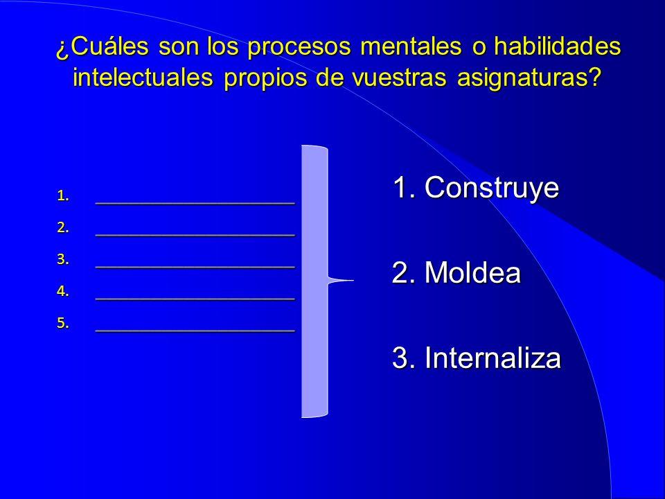 ¿Cuáles son los procesos mentales o habilidades intelectuales propios de vuestras asignaturas? 1. __________________ 2. __________________ 3. ________