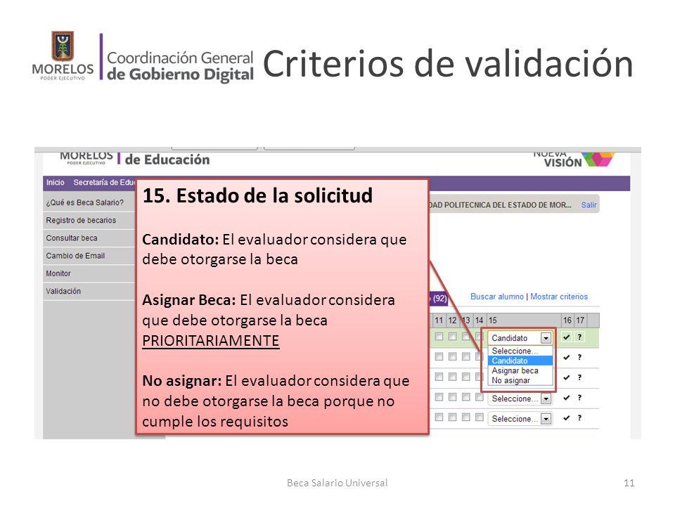 Criterios de validación Beca Salario Universal11 15. Estado de la solicitud Candidato: El evaluador considera que debe otorgarse la beca Asignar Beca: