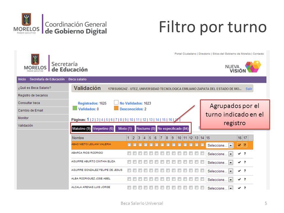 Filtro por turno Beca Salario Universal5 Agrupados por el turno indicado en el registro