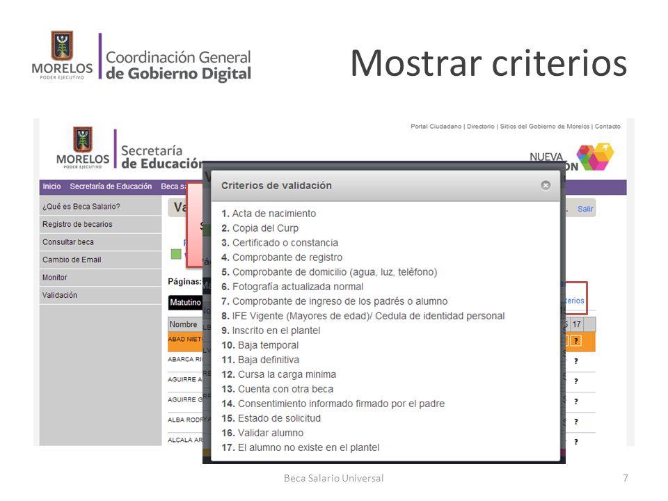 Mostrar criterios Beca Salario Universal7 Se desea saber el significado de los índices en las columnas