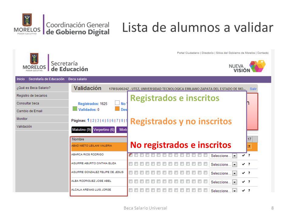 Lista de alumnos a validar Beca Salario Universal8 Alumnos que indicaron estar inscritos en el plantel Registrados e inscritos Registrados y no inscri