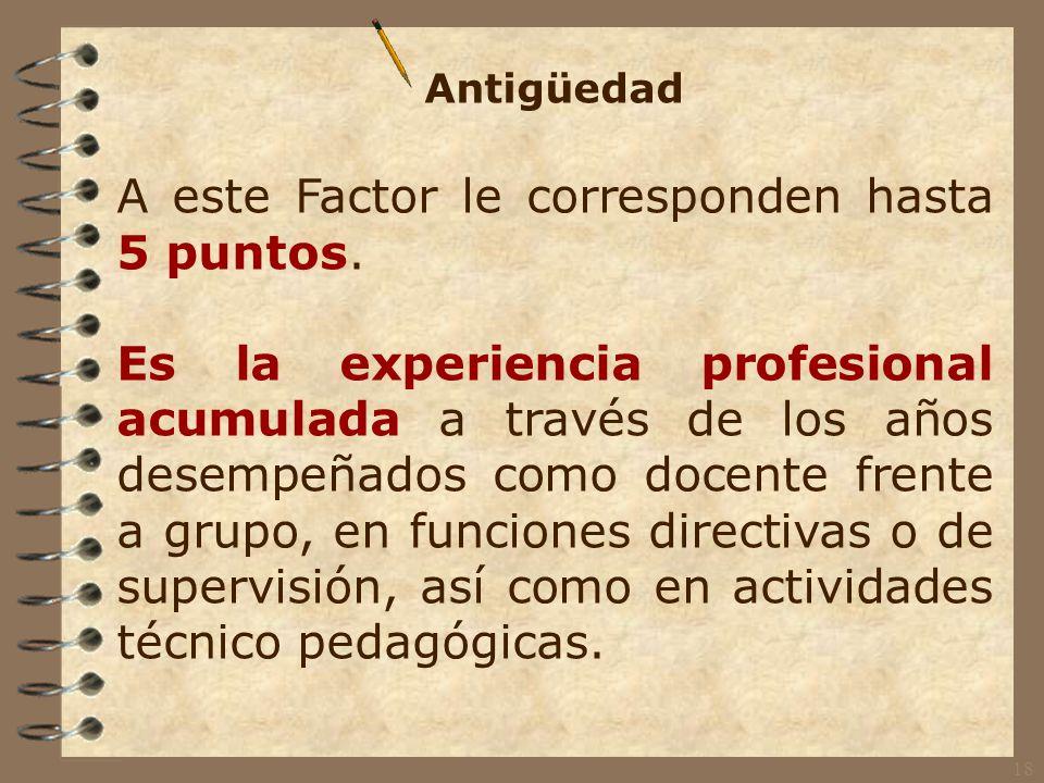 Preparación Profesional A este Factor le corresponden hasta 5 puntos.