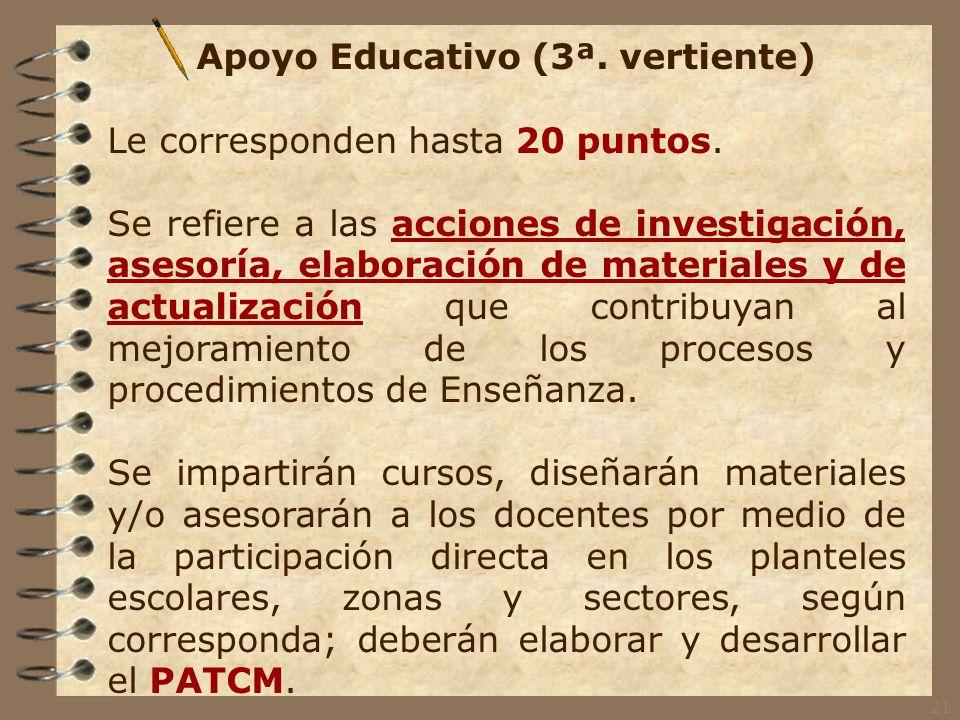 Gestión Escolar (2ª. vertiente) Le corresponden hasta 10 puntos.