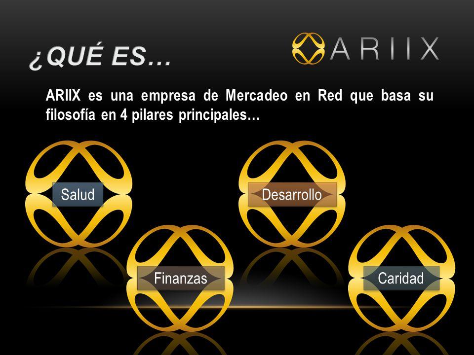ARIIX es una empresa de Mercadeo en Red que basa su filosofía en 4 pilares principales… Salud Finanzas Desarrollo Caridad