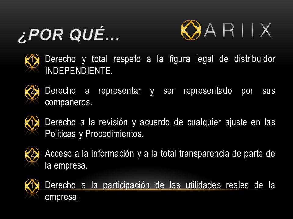 1 Derecho y total respeto a la figura legal de distribuidor INDEPENDIENTE.