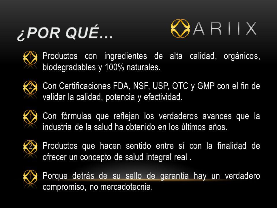 1 Productos con ingredientes de alta calidad, orgánicos, biodegradables y 100% naturales.
