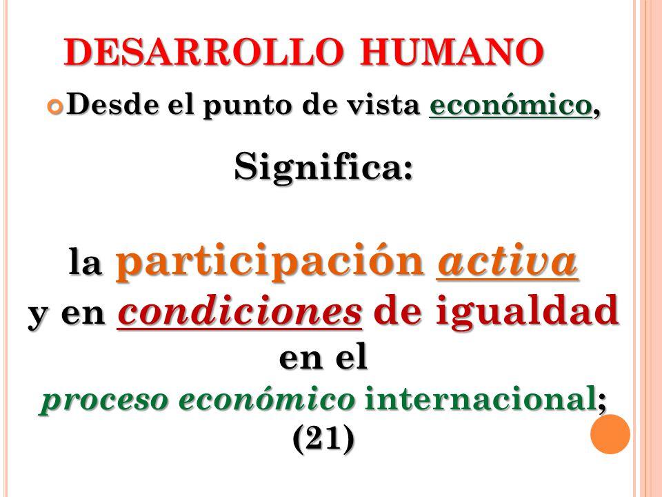 DESARROLLO HUMANO Desde el punto de vista económico, Desde el punto de vista económico,Significa: la participación activa y en condiciones de igualdad