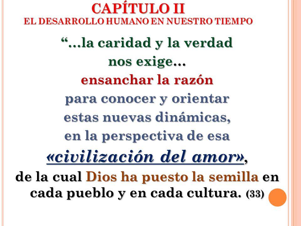 CAPÍTULO II EL DESARROLLO HUMANO EN NUESTRO TIEMPO …la caridad y la verdad nos exige… ensanchar la razón para conocer y orientar estas nuevas dinámica