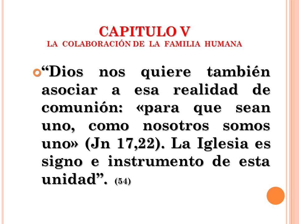 CAPITULO V LA COLABORACIÓN DE LA FAMILIA HUMANA Dios nos quiere también asociar a esa realidad de comunión: «para que sean uno, como nosotros somos un