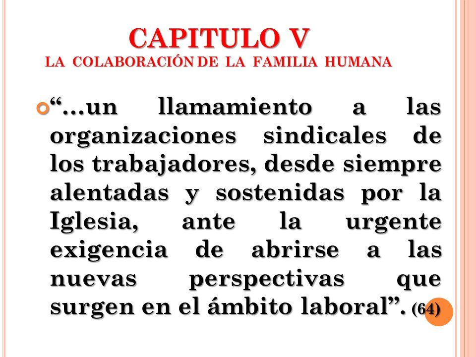 CAPITULO V LA COLABORACIÓN DE LA FAMILIA HUMANA …un llamamiento a las organizaciones sindicales de los trabajadores, desde siempre alentadas y sosteni