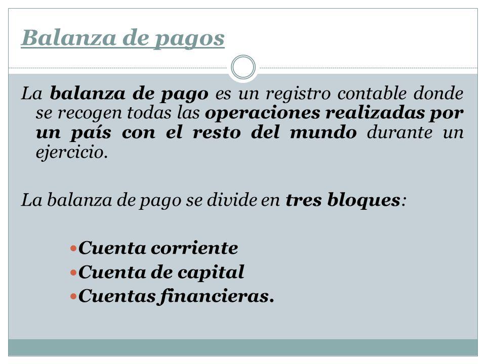Balanza de pagos a) Cuenta corriente Incluye: Compra / venta de mercancías (este sub apartado se denomina balanza comercial).